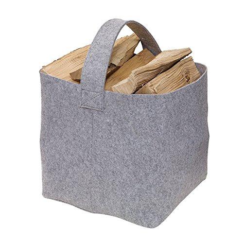 *Kaminholz Tasche Filz 36 x 40 x 40 cm Kaminholzkorb Grau Kaminholztasche ausgelegt für max.15 kg auch als Zeitungstasche, Allzweckstasche verwendbar*