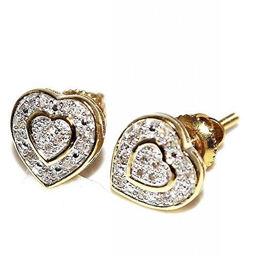 llery Damen Diamant Herz Ohrringe 10K Gold 7mm breit Schraubverschluss 0,07cttww (I/J Farbe 0,07cttw ()