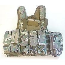 Militar de Heavy Duty Molle Combate Chaleco/Chaleco de protección protectora de seguridad w/bolsa para Camping (táctico de airsoft caza CS Juego de Guerra MultiCam (MC)