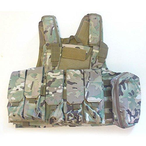 WorldShopping4U Militaire Armée Lourd Devoir Molle Combat Gilet Entraînement de Protection Sécurité Gilet avec Poche Multicam (MC) pour Tactique de Chasse Airsoft Extérieur Camping CS Guerre Jeu