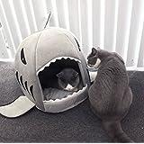 Hai-Motive Katzenbett mit Kissen Hundehaus Haustier Schlafsack für drinnen Waschbar Haus & Sofa 42cm/50cm (grau)