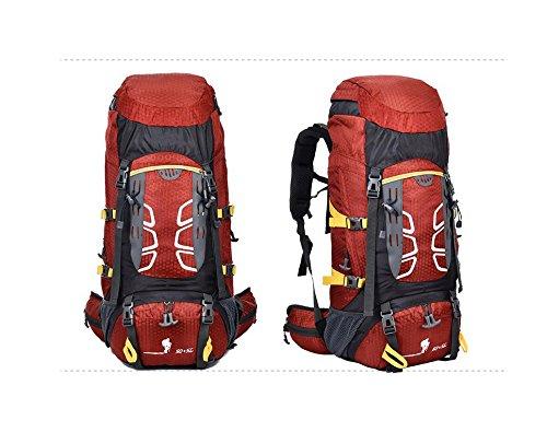 Un nuovo giorno Zaino outdoor alpinismo borsa viaggio 60L impermeabile nylon Zaini per uomini e donne nuove , orange red