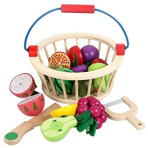 Blanketswarm Holzschneide-Set für Kinder, magnetisches Holz, Gemüse, Obst, Spielset, Küchen-Set, Spielzeug mit Korb, Holz, Fruits-12pcs, M (Obst Aus Holz Korb)
