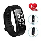 Fitness Tracker,Hizek IP67 Waterproof Wireless 4.0 Activity Tracker Watch Pedometer Smart Bracelet with Sleep Monitor/ Step Tracker/ Calorie Counter for Android 4.4 / iOS 8.0 or Above