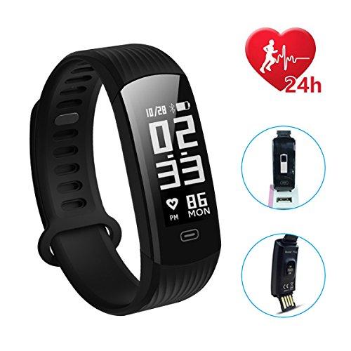 Hizek Montre Connectée, Bracelet Fitness Tracker Sport Smartwatch Fitness Tracker d'Activité avec Cardiofréquencemètre Poignet Moniteur de Sommeil Femme Homme pour iPhone Huawei Samsung Xiaomi - Noir Hizek