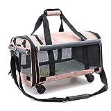 Haustier liefert großes Haustier Katze aus Beuteln pet tragbaren Rad zieht Umhängetasche Tasche Haustier-M Hellrosa Paket Schlepper-Tragbare Haustier Paket Beutel +