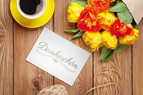 15 x Dankeskarten (DANKESCHÖN GOLD) und 15 x Umschläge im Set – Danke mit Danksagungskarten, Danke sagen nach Hochzeit, Geburt, Baby, Taufe, Konfirmation,