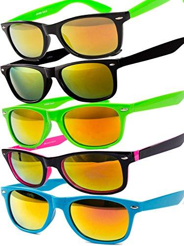 5 er Set EL-Sunprotect® Sonnenbrille Nerdbrille Brille Nerd Feuer Verspiegelt Schwarz Grün Schwarz Neon Grün Schwarz Pink Türkis