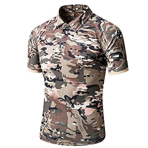 TACVASEN Camouflage Mens T-Shirt Hunting Shooting Fishing Sportswear Camo Short Sleeve Tops