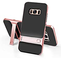 funda Galaxy S7 Edge suave de silicona Carcasa Anti-gota Parachoques duro para PC Cuadrícula Anti-huella dactilar Stent Funda Bumper -Cuadrícula + oro rosa