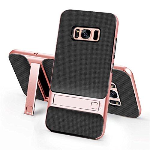 cover iPhone 7 morbido silicone Guscio Anti-drop Paraurti duro del PC pesante griglia Anti-impronta digitale supporto Custodia -Trasparente + grigio Griglia + oro rosa