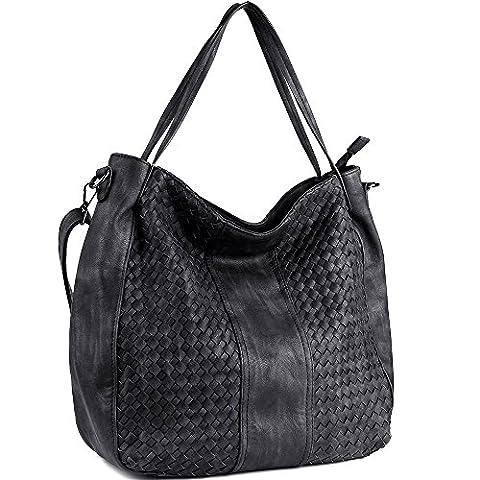 CASELAND Damen Handtaschen Cross-body Schultertaschen Umhängetaschen Hobo Henkeltaschen PU Leder Große Weave Taschen (L:45cm * H:35cm * W:13cm) Schwarz