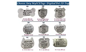 MyICETag Steel Personalized Engraved Plus Smart Dog Tag Digital Pet ID System