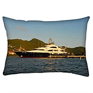 Snoogg White And Black Boat Rectangle Toss Throw Pillow Cushion Cover Decoarative Pillow Case 14 x 22""