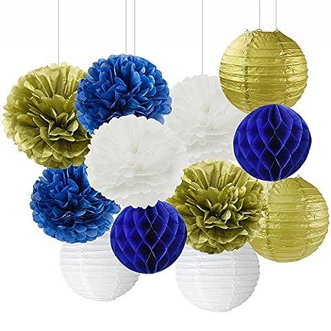 Blanc Bleu marine Doré papier de soie Pom Pom Fleurs de papier papier lanternes en papier en nid d'abeille pour Bleu marine sur le thème de fête de mariage de douche de bébé Décoration de fête