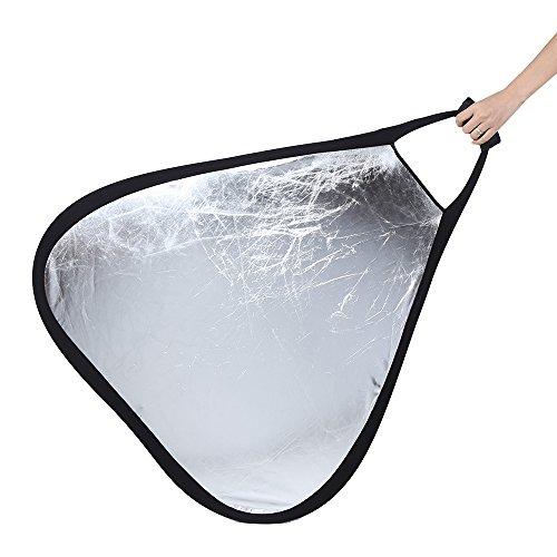 dreieckig silber Bounce Reflektor | 80cm | Handheld faltbar tragbar Licht Fill & Farbe Balance grau Karte auf Rückseite (Fill-licht-reflektor)