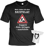 T-Shirt - Mein Leben ist eine Baustelle - Geschenk Set Funshirt und Mini Shirt für Leute mit Humor