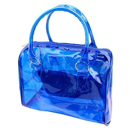 Donalworld da donna, stile Vintage, in PVC, motivo: Summer spiaggia di borsetta in silicone, colore: trasparente Blu (blu)