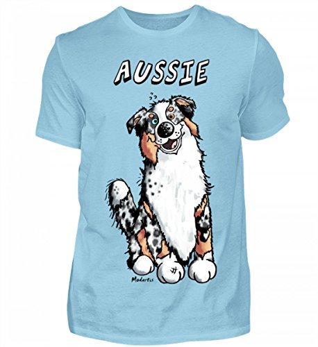 Hochwertiges Herren Shirt - Lustiger Aussie Australian Shepherd Comic Hund (Shepherd Australian T-shirt Dog)
