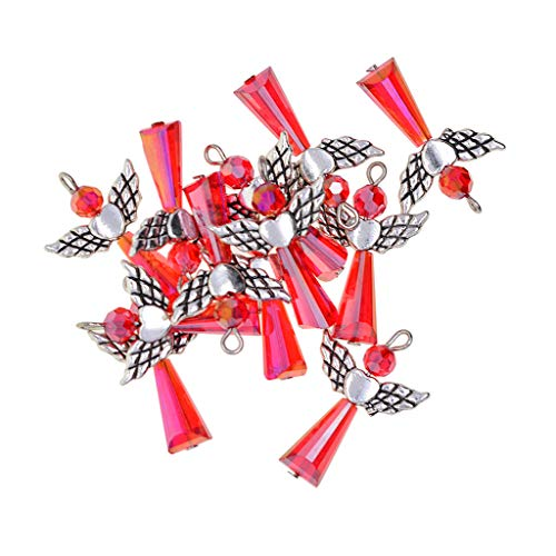 12 Stück DIY Bastelset Engel Flügel Fee Anhänger Perlenengel Schutzengel Acryl Perlen Beads für Halskette Kette Schmuckherstellung - rot, wie beschrieben