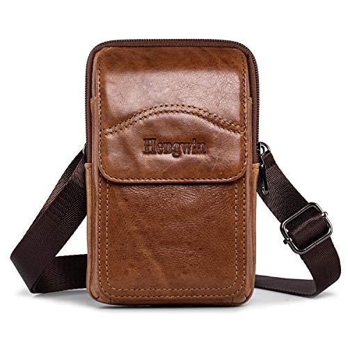 hengwin Leder Schultertaschen Herren, Männer Handytasche Hüfttasche Gürteltasche Kleine Vertikale Handtasche mit Gürtelschlaufe für Smart Phones bis 6 inch, Braun