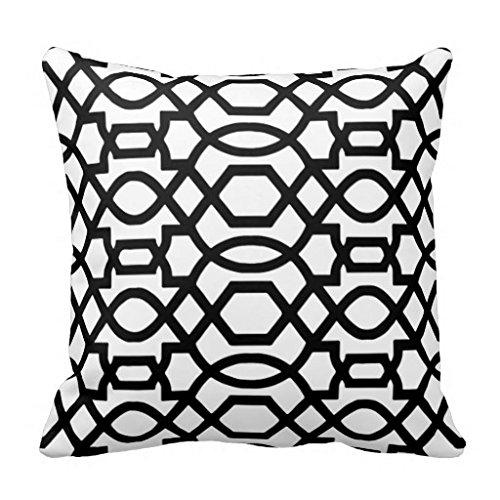 Black & White Trellis Print Throw PillowCase 16x16 (White Trellis)