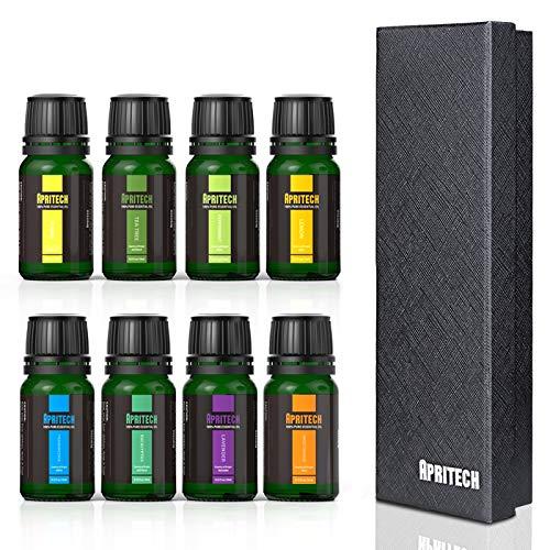APRITECH® Ätherische Öl Ätherische Öle Set, hochwertigster Qualität Aromatherapie Duftöl, Aromatherapie-Set von ätherischen Bio-Ölen, 100% Pur, 8 x 10 ml (Lavendel, Teebaum, Eukalyptus, Zitronengras, Süßorange, Pfefferminze, Weihrauch, Ylang-Ylang ) Therapeutic-Grade Essential Oils (B)