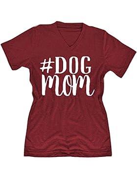 Juqilu Verano de la camiseta de las mujeres de manga corta Dog Mom Print Blusa de las señoras camiseta del lema...