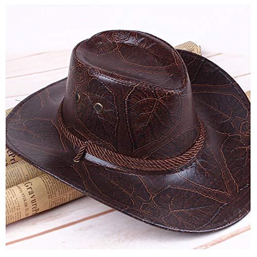Sommerwind Western Cowboy-Hut Atmungsaktive Leder Ritter Hut Outdoor Cap Visier Männer und Frauen Hut (Farbe : Braun, Größe : 56-59cm) - Leder-hut-frauen