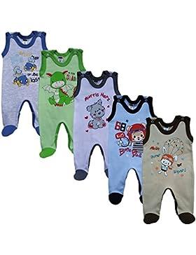MEA BABY Unisex Baby Strampler mit Aufdruck aus 100% Baumwolle im 5er Pack. Baby Strampler für Mädchen Baby Strampler...