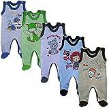 MEA BABY Unisex Baby Strampler mit Aufdruck aus 100% Baumwolle im 5er Pack. Baby Strampler für Mädchen Baby Strampler für Jungen (86, Jungen)