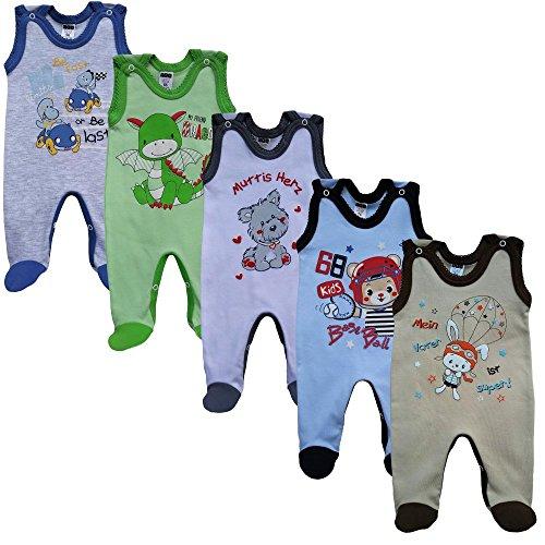 MEA BABY Unisex Baby Strampler mit Aufdruck aus 100% Baumwolle im 5er Pack. Baby Strampler für Mädchen Baby Strampler für Jungen (62, Jungen)