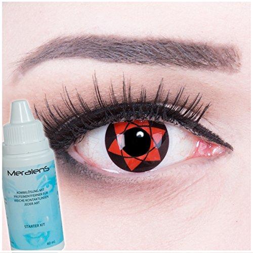 Meralens Big Uchiha 14mm Kontaktlinsen mit Pflegemittel mit Behälter ohne Stärke, 1er Pack (1 x 2 Stück)