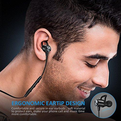 Auriculares Bluetooth ATGOIN Cascos Bluetooth magnéticos y deportivos Auriculares inalámbricos con Bluetooth 4.1 para running (resistentes al sudor estéreo micrófono incluido cancelación de ruido