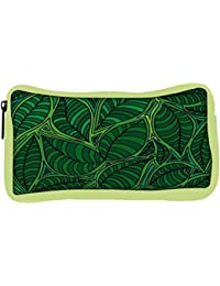 Snoogg Eco Friendly Canvas Abstract Sketch Of Leaf Background Vector Illustration Student Pen Pencil Case Coin...