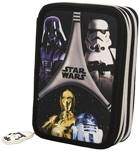 Star Wars – Estuche completo con 3 pisos, color Multicolor (Negro/Gris)