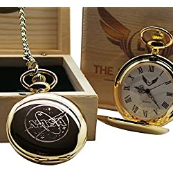 NASA Logo Gold Pocket Watch Full Hunter with Chain Luxury Gift Box Space Shuttle Moon