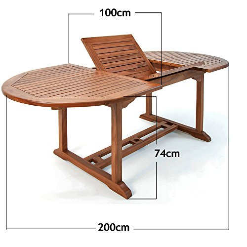 Deuba Wooden Garden Dining Table and Chairs Set FSC� certified Eucalyptus Wood Outdoor Patio Conservatory Oval Furniture 6 Seater