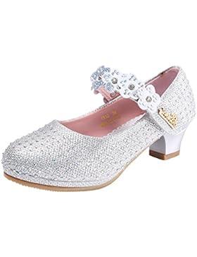 GEMVIE Zapatos Niñas Princesa con Tacón Lentejuelas Fiesta Merceditas