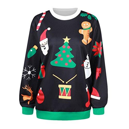 YICHUN Femme Noël Tops T-Shirts Tee-Shirt Léger Sweat-shirts Sweaters Pulls Blouse Pull-Overs Jumpers Sweats Noir 4#