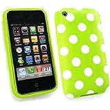 Emartbuy ® Apple Iphone 3G / 3Gs Polka Dots Gel Skin Cover / Case Grün / Weiß