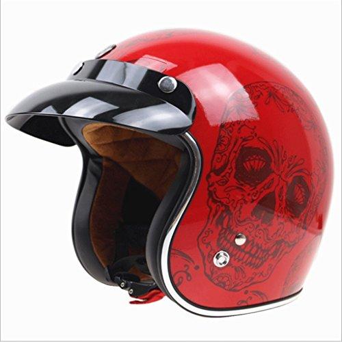 Casco moto Harley Casco moto casco modello vintage casco rosso (Color : M)