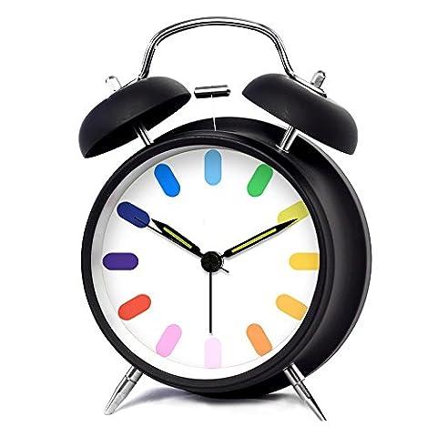 KHSKX Mode créatif mignon les couleurs mis en sourdine les veilleuses, horloges de maison enfants étudiants , 4 inch black