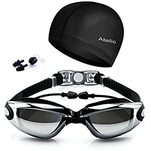 #1 Lunettes de natation - Atelic® natation Lunettes Cap Equipment Anti-brouillard UV Protection Triathlon Lunettes de natation with Housse de protection for Adult Men Women Youth Kids Child