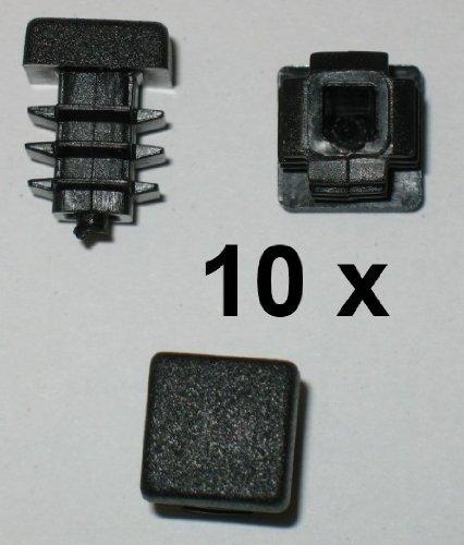 10 x Côtelé branche tube carré bouchons 10 x 10 mm (extérieur)-plug-noir