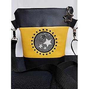 Handtasche Stern Umhängetasche Tasche Glitzer Bag schwarz curry mit Anhänger Stern Vintage Stil Geschenkidee