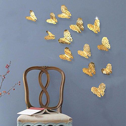 DOLDOA 12er Set 3D Schmetterlinge Wanddeko Aufkleber Abziehbilder Wand-Dekor Wanddekoration Wandaufkleber Sticker (Me Despicable Dekorationen Geburtstag)