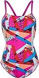 adidas Damen 3-Streifen Badeanzug, Shopin/Brblue/Sunglo, 34