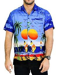 La Leela coucher de soleil hawaïen croisière aloha bouton surfeurs plage camp chemise à manches courtes pour les hommes vers le bas xs bleu - 5xl