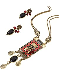 Yazilind Women's Ethnic Style Multilayer Crystal Water Drop Pendant Choker Statement Necklace Earrings Set